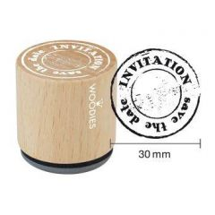 "Uitnodiging stempel Houten handstempel ""Woodies"" 